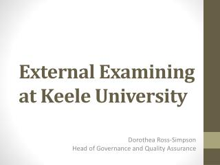 External Examining at Keele University