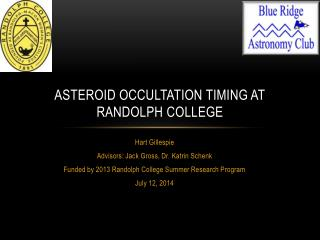 Asteroid occultation timing at  randolph  college