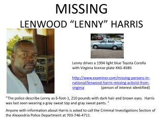 "MISSING LENWOOD ""LENNY"" HARRIS"