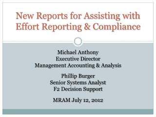New Reports for Assisting with Effort Reporting & Compliance
