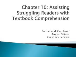 Chapter 10: Assisting Struggling Readers with Textbook Comprehension