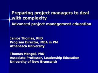 Preparing project managers to deal with complexity  Advanced project management education