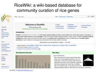RiceWiki : a wiki-based database for community  curation  of rice genes