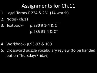 Assignments for Ch.11