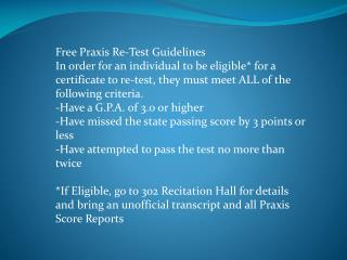 Free Praxis Re-Test Guidelines