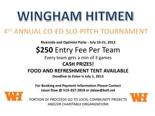 Riverside and Optimist Parks - July 19-21, 2013 $250  Entry Fee Per Team