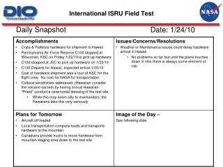 International ISRU Field Test