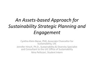 An Assets-based Approach for Sustainability Strategic Planning and Engagement