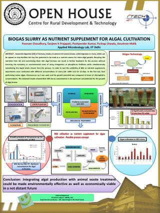 BIOGAS SLURRY AS NUTRIENT SUPPLEMENT FOR ALGAL CULTIVATION