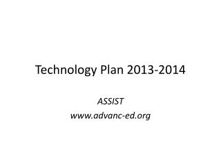 Technology Plan 2013-2014