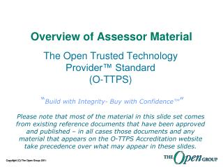 Overview of Assessor Material