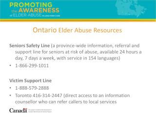 Ontario  Elder Abuse Resources