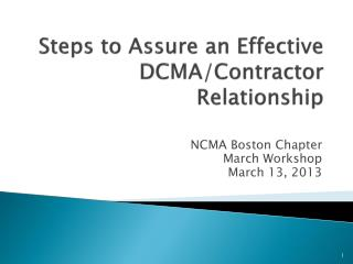 Steps to Assure an Effective DCMA/Contractor Relationship