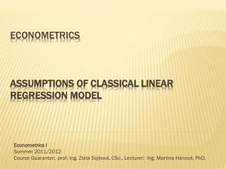 Econometrics Assumptions of Classical Linear Regression Model