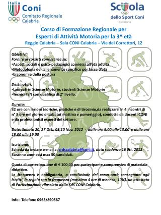Corso di Formazione Regionale per Esperti di Attività Motoria per la 3^ età