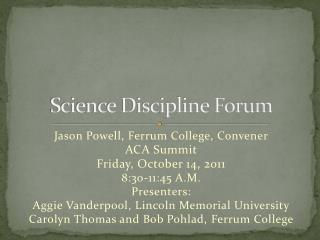 Science Discipline Forum