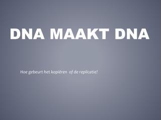 DNA maakt DNA