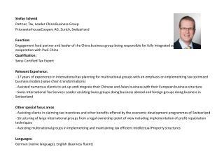 Stefan  Schmid Partner, Tax, Leader China Business Group