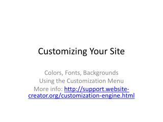 Customizing Your Site