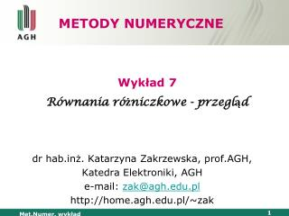 METODY NUMERYCZNE