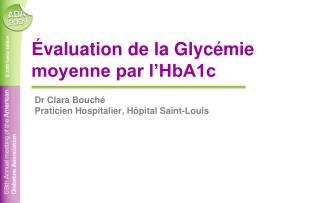 valuation de la Glyc mie moyenne par l HbA1c