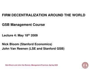 FIRM DECENTRALIZATION AROUND THE WORLD   GSB Management Course