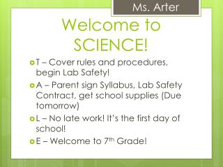 Welcome to SCIENCE!