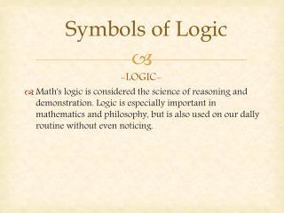 Symbols  of  Logic