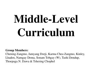 Middle-Level  Curriculum
