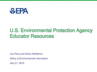 U.S. Environmental Protection Agency Educator Resources