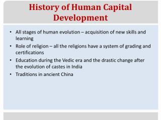 History of Human Capital Development