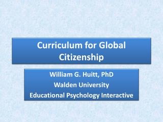 Curriculum for Global Citizenship