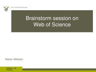 Brainstorm session on Web of Science