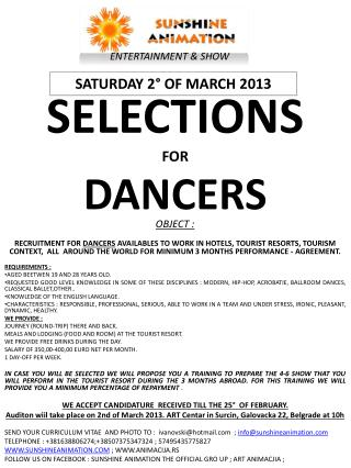SELECTIONS FOR DANCERS