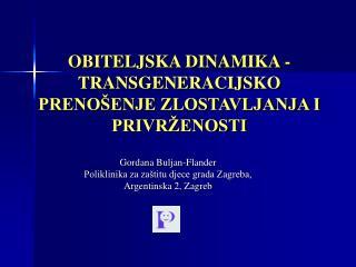 OBITELJSKA DINAMIKA - TRANSGENERACIJSKO PRENO ENJE ZLOSTAVLJANJA I PRIVR ENOSTI