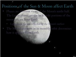 Positions of the Sun & Moon affect Earth