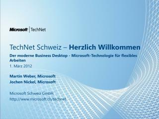 TechNet  Schweiz  –  Herzlich Willkommen