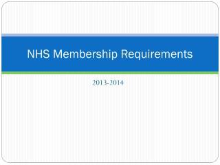 NHS Membership Requirements