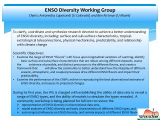 ENSO  Diversity Working Group