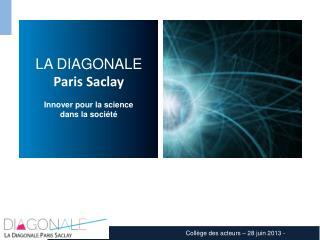 LA DIAGONALE Paris Saclay Innover pour la science  dans la soci é t é