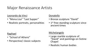 Major Renaissance Artists