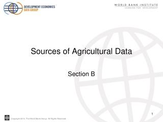 Sources of Agricultural Data