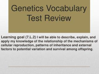 Genetics Vocabulary Test Review