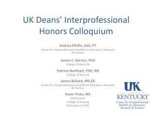 UK Deans'  Interprofessional Honors Colloquium