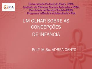 UM OLHAR SOBRE AS CONCEPÇÕES  DE INFÂNCIA        Profª M.Sc. ADREA CANTO