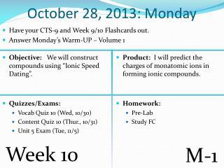 October  28,  2013: Monday