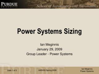Power Systems Sizing