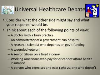 Universal Healthcare Debate