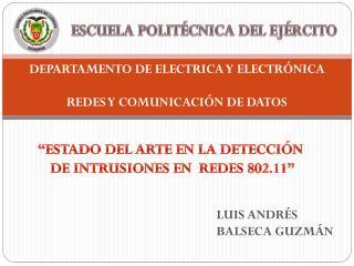 DEPARTAMENTO DE ELECTRICA Y ELECTR�NICA REDES Y COMUNICACI�N DE DATOS