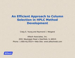 An Efficient Approach to Column Selection in HPLC Method Development